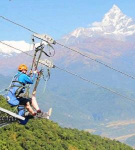 Tyrolienne à Pokhara