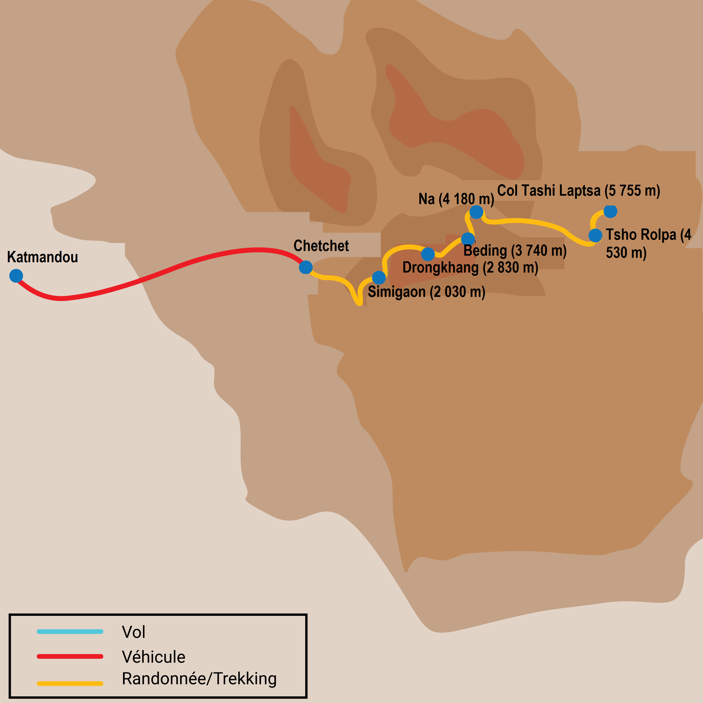 Trek dans la vallée de Rolwaling